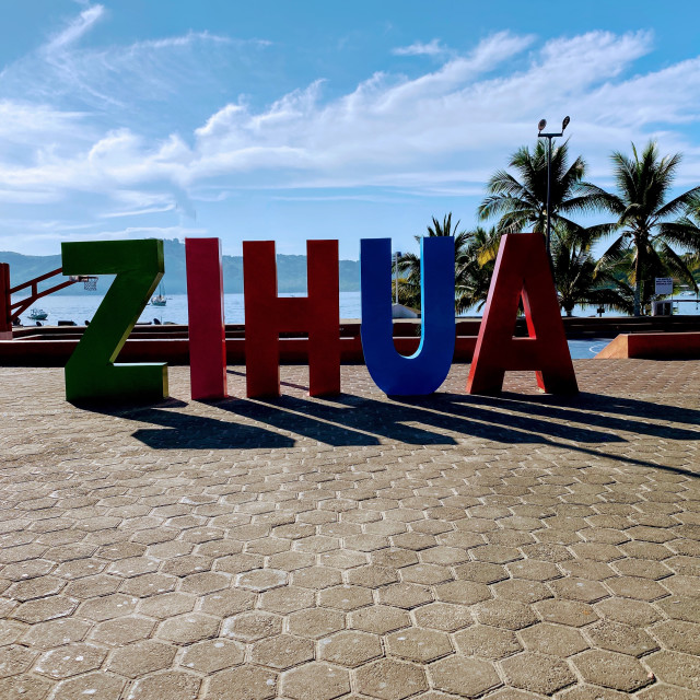 """Zihuatanejo sign in town"" stock image"