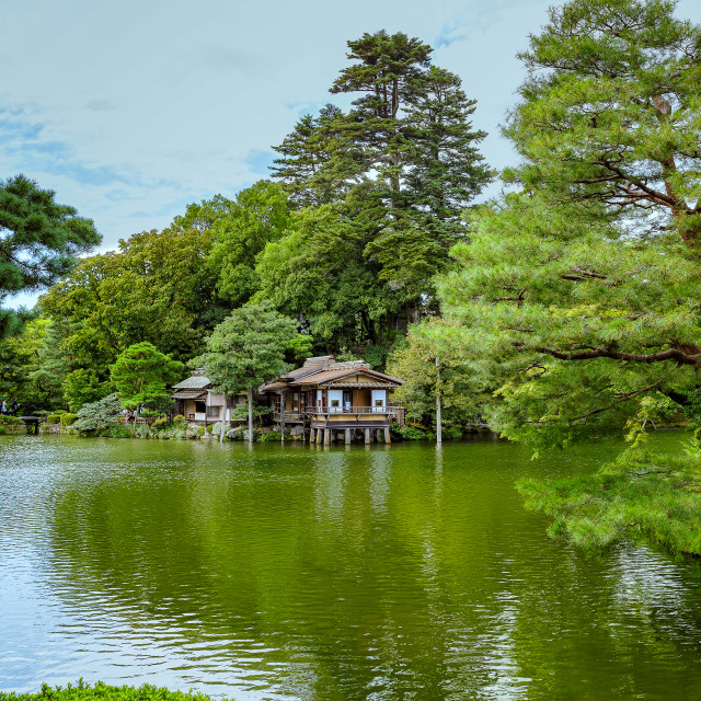 """Old Japanese House on a Lake"" stock image"