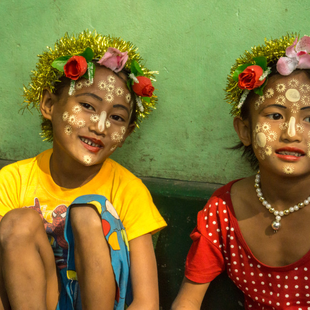 """Faces of Myanmar - 2 girls in Amarapura"" stock image"