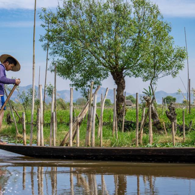 """Faces of Myanmar - boating on the Inle Lake"" stock image"