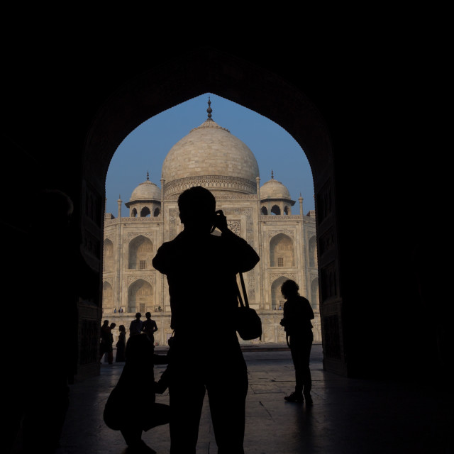 """A photographer at Taj Mahal"" stock image"