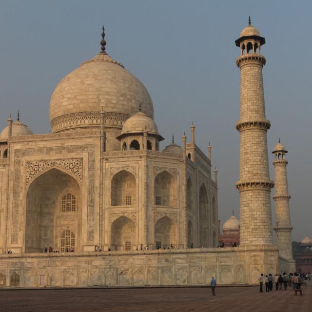 """Taj Mahal - the mausoleum seen from the east at sunrise"" stock image"