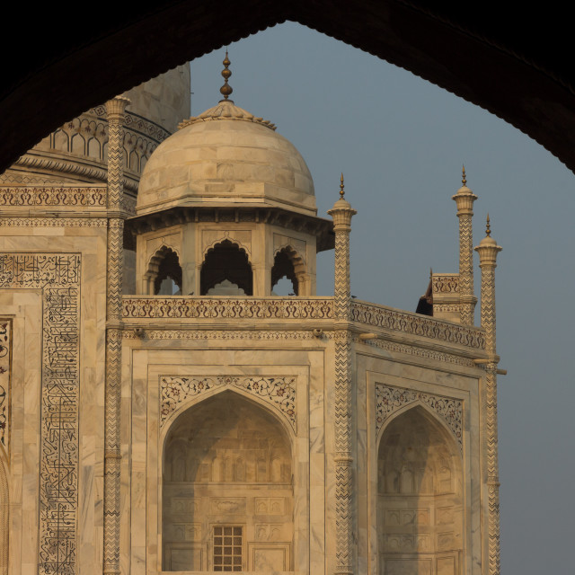 """Taj Mahal seen shortly after sunrise from jawāb"" stock image"