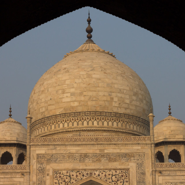 """Taj Mahal seen shortly after sunrise from jawāb"" stock image"