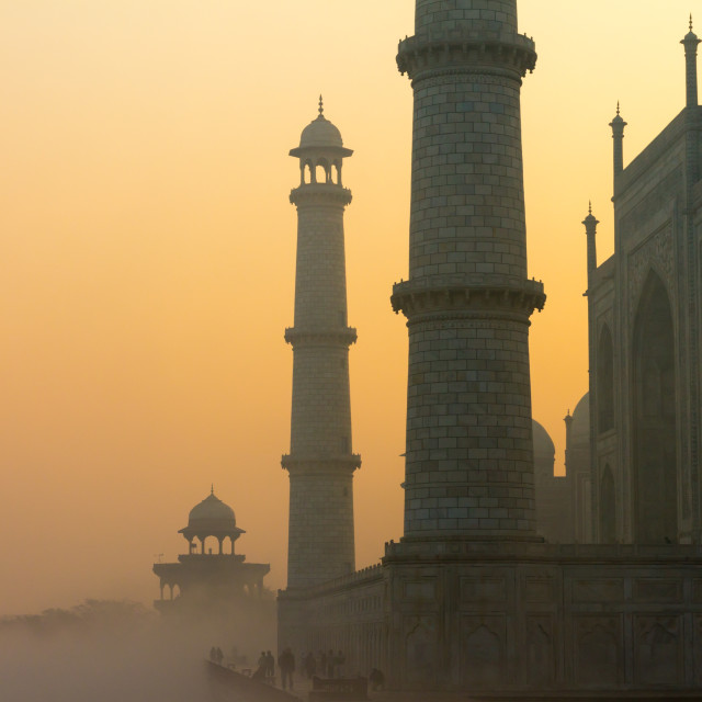 """Taj Mahal at sunrise on a January day"" stock image"