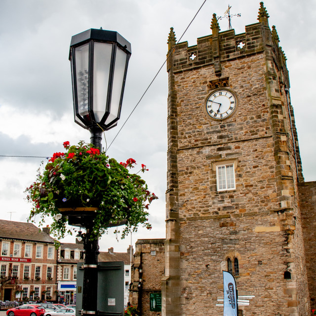 """""""Former Holy Trinity Church Tower a Grade I Listed Building in The Market Place, Richmond, North Yorkshire."""" stock image"""