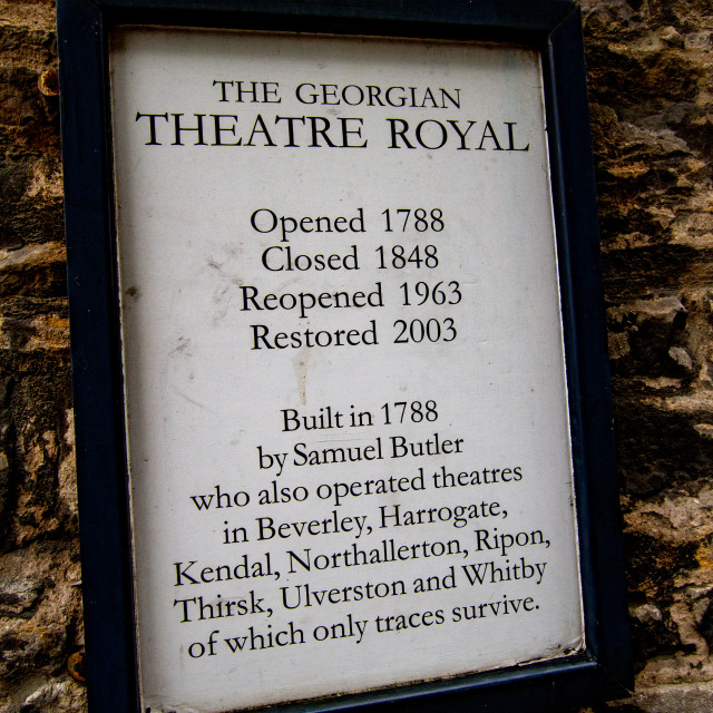 """""""The Georgian Theatre Royal, Exterior Wall Sign, Richmond, North Yorkshire."""" stock image"""