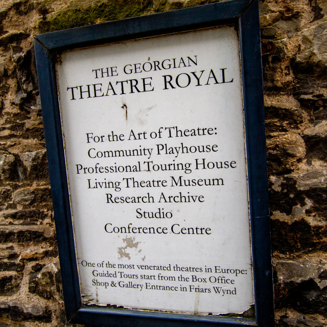 """""""The Georgian Theatre Royal Exterior Wall Sign, Richmond, North Yorkshire."""" stock image"""