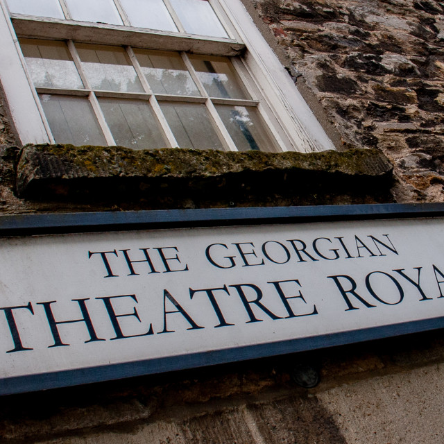"""""""The Georgian Theatre Royal, Sign and sash window above Entrance. Richmond, North Yorkshire."""" stock image"""