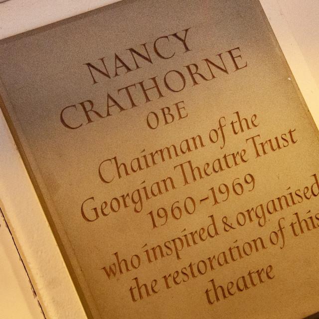 """The GThe Georgian Theatre Royal, Plaque to Nancy Crathorne OBE. Richmond, North Yorkshire. eorgian Theatre Royal, Richmond, North Yorkshire."" stock image"