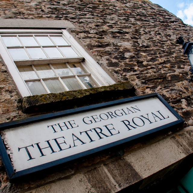 """""""The Georgian Theatre Royal, Sign above Entrance. Richmond, North Yorkshire."""" stock image"""