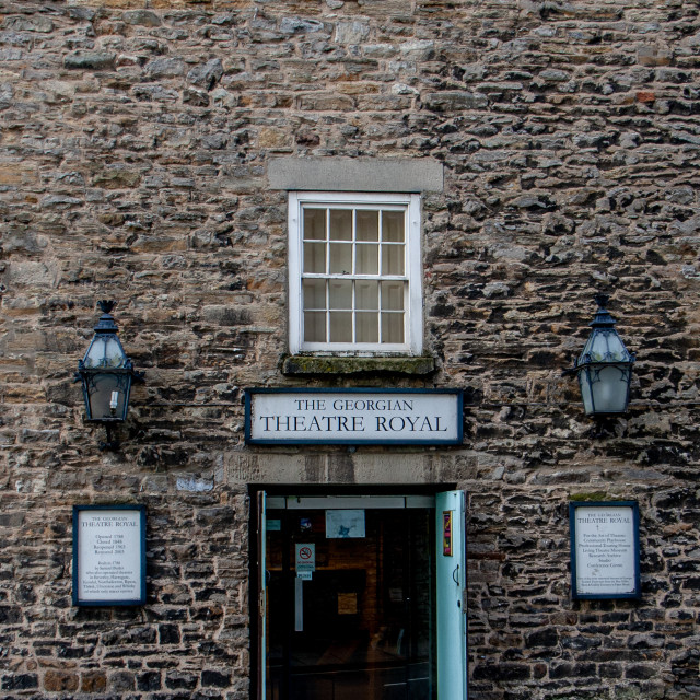 """""""The Georgian Theatre Royal Showing Entrance and Signs. Richmond, North Yorkshire."""" stock image"""