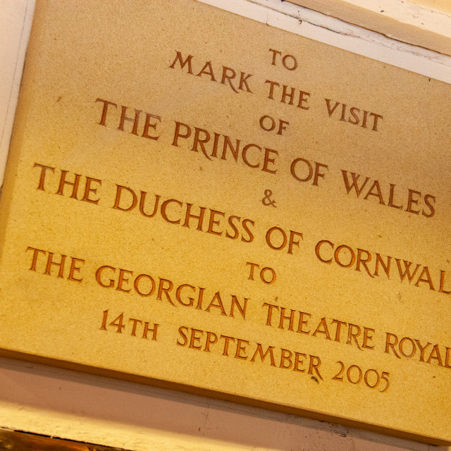 """""""The Georgian Theatre Royal, Plaque to Prince of Wale and Duchess of Cornwall visit. Richmond, North Yorkshire."""" stock image"""