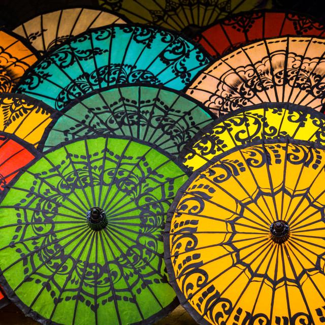 """""""Umbrellas of Bagan"""" stock image"""