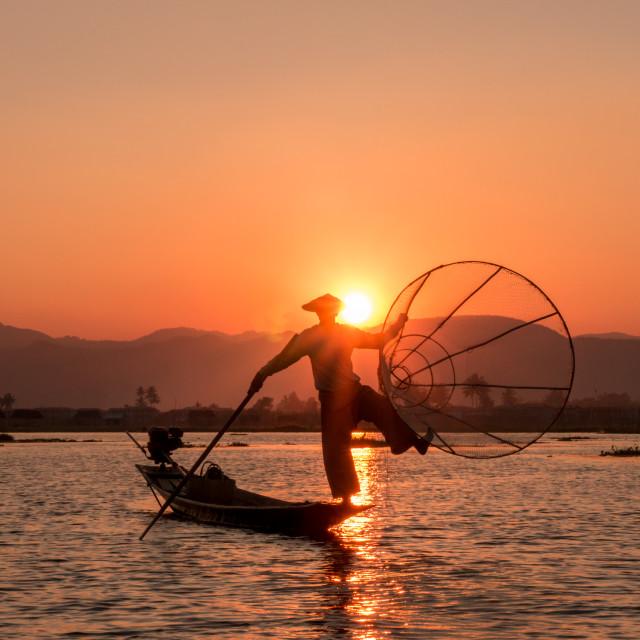 """""""Fishermen of Inle Lake"""" stock image"""