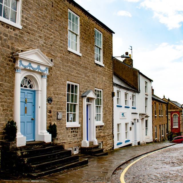 """""""Richmond, North Yorkshire, Streets and Shops"""" stock image"""