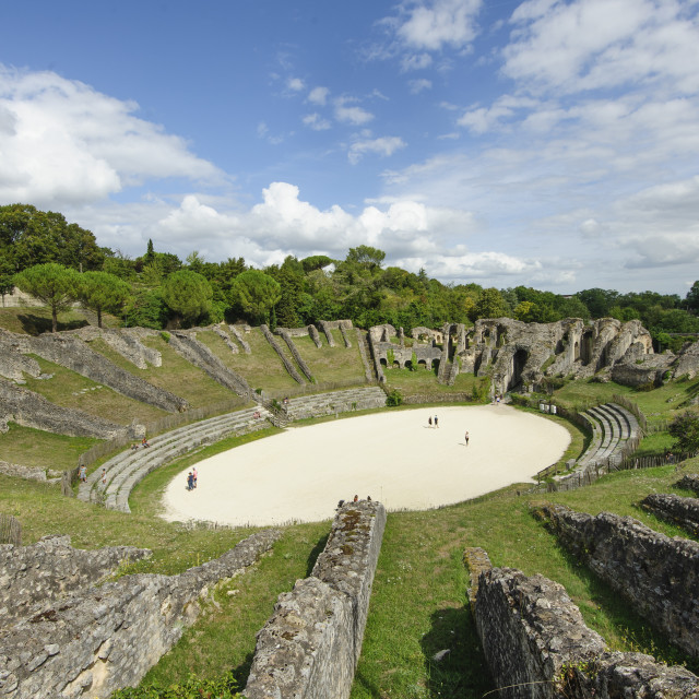 """Roman amphitheatre, Saintes, Charante, France"" stock image"