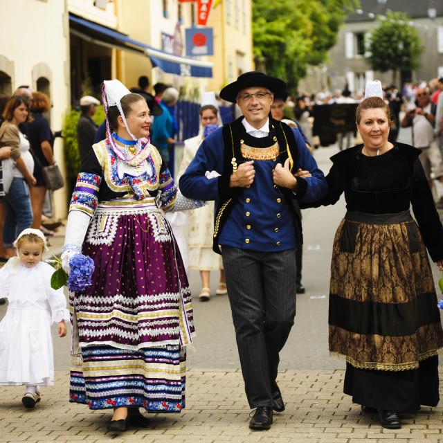 """Folk Festival (Fete Folklorique), Ploumodiern, Finisterre, France"" stock image"