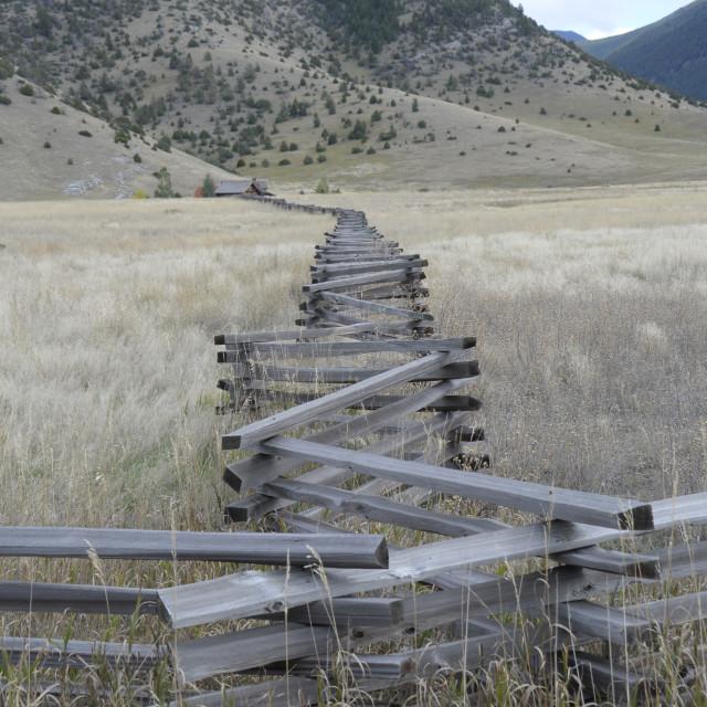 """""""Montana Zig Zag Fencing"""" stock image"""