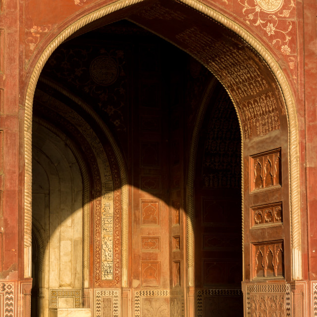 """Portal and the interior of the mosque located in the Taj Mahal complex"" stock image"