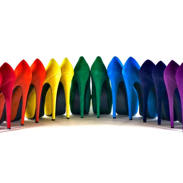 """Shoe Stories - The Rainbow Row"" stock image"