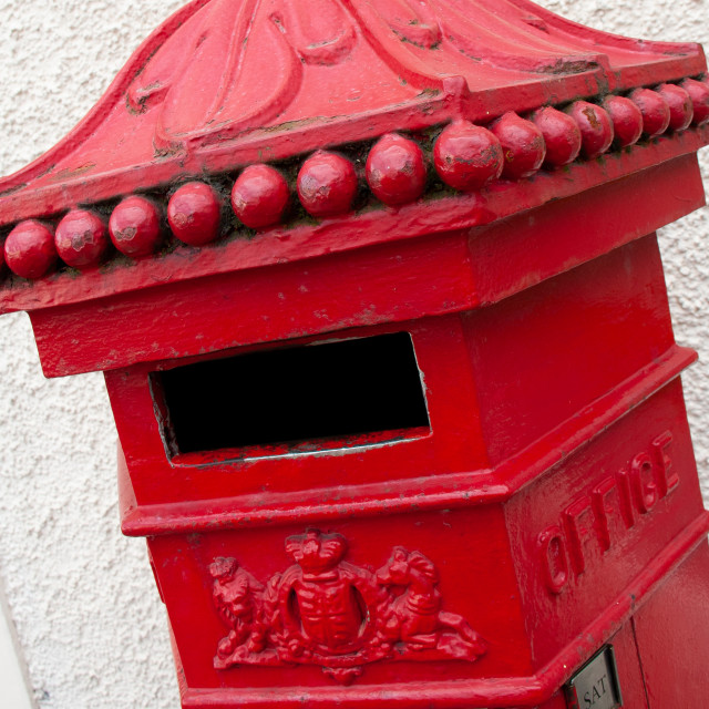 """Richmond, North Yorkshire, Pillar Post Box , Penfold."" stock image"