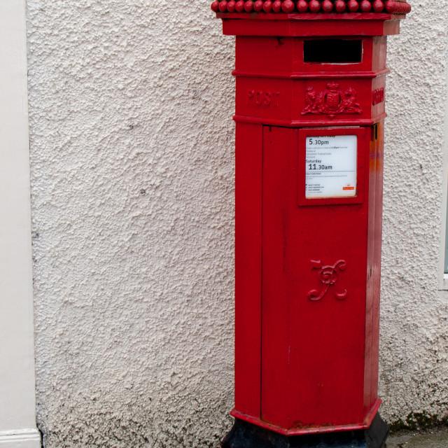 """Richmond, North Yorkshire, Pillar Post Box"" stock image"