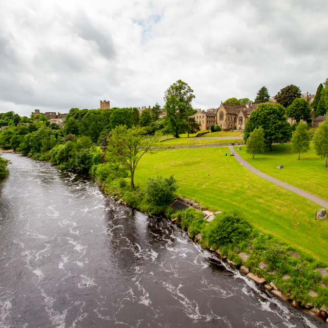 """""""River Swale at Richmond, North Yorkshire."""" stock image"""