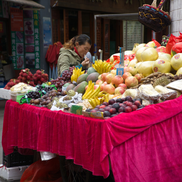 """China Street Fruit store2"" stock image"