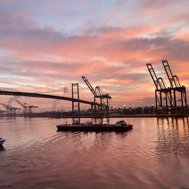 """Sunrise in Los Angeles, CA cruise port"" stock image"
