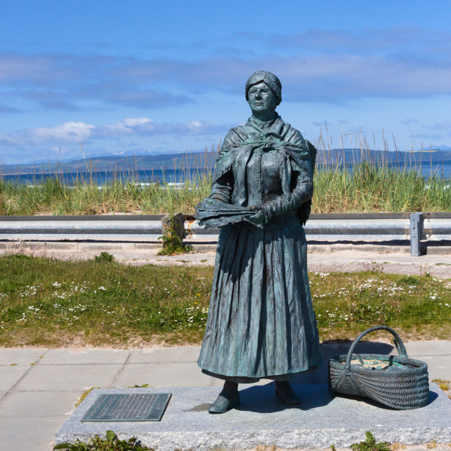 """Nairn fishwife statue by the harbour"" stock image"