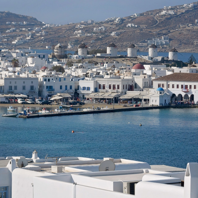 """Mykonos Harbor"" stock image"
