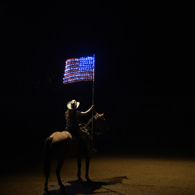 """""""Rodeo and the American flag"""" stock image"""