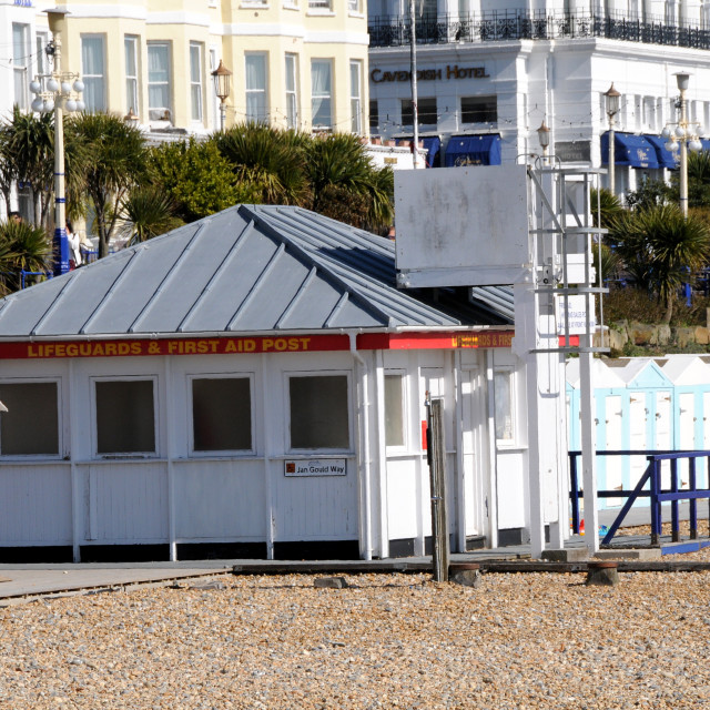 """""""Lifeguard First Aid Post. Eastbourne, East Sussex, UK."""" stock image"""
