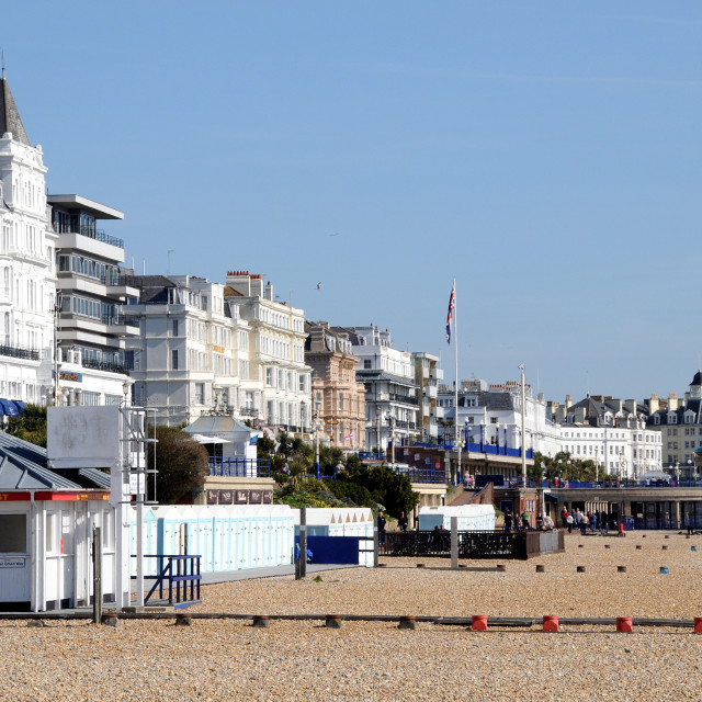 """""""Eastbourne Beach, showing Lifeguard First Aid Post and Band Stand."""" stock image"""