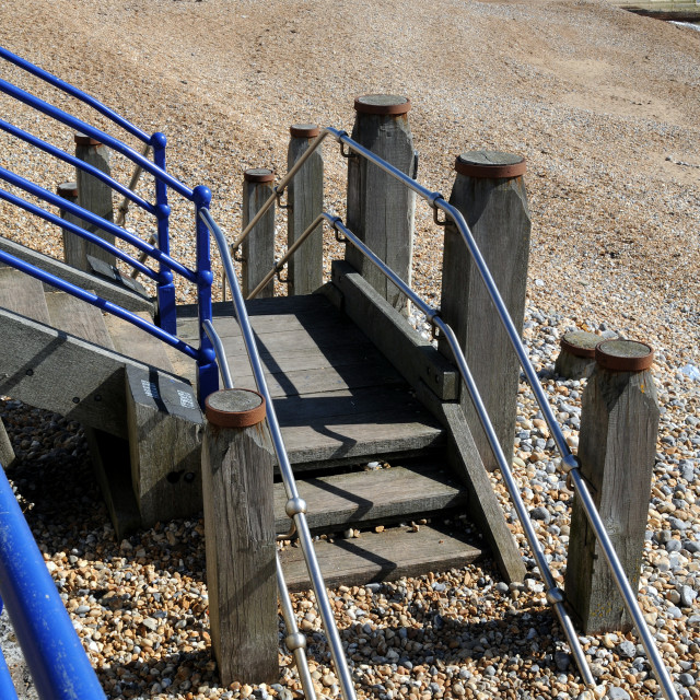 """""""Steps to Beach with Pier in background. Eastbourne,East Sussex,England."""" stock image"""