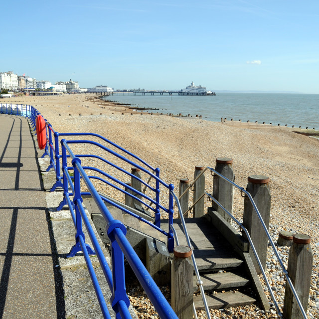 """""""Eastbourne Beach looking towards The Pier."""" stock image"""