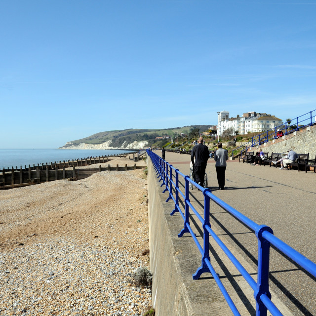 """""""Lower Promenade and Beach. Eastbourne,England. Looking west towards cliffs."""" stock image"""