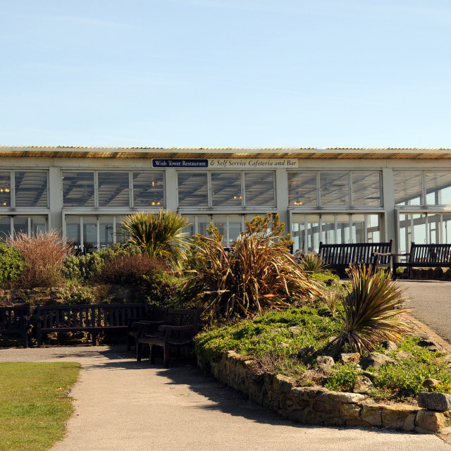 """""""The Wish Tower Restaurant/Cafe. Eastbourne, England. (Now Demolished)."""" stock image"""