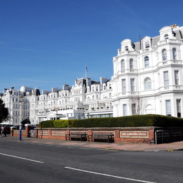 """""""The Grand Hotel, Grand Parade, Eastbourne,England."""" stock image"""