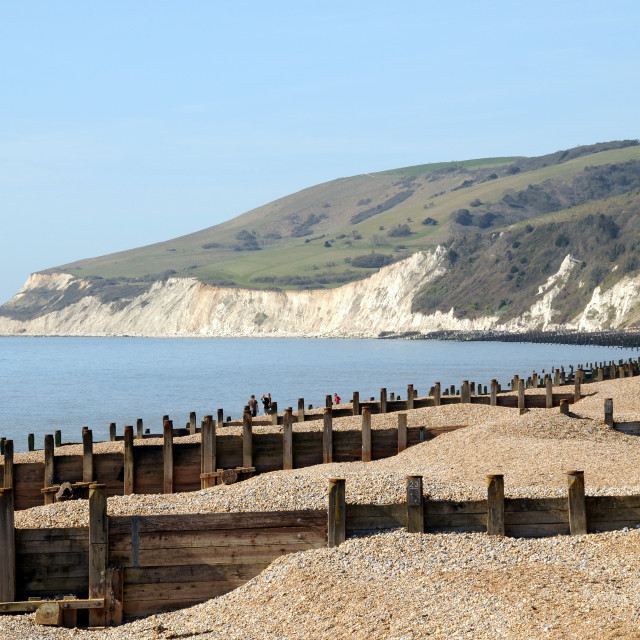 """""""Beach looking towards Cliffs. Eastbourne,England."""" stock image"""