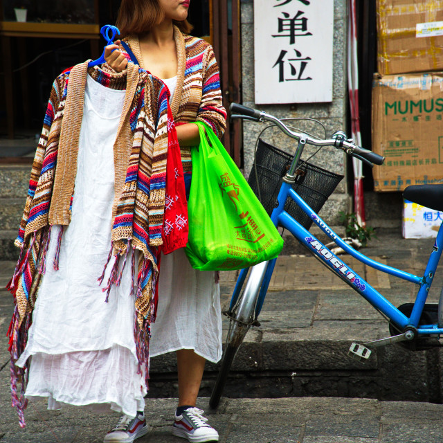 """Lady with shopping"" stock image"