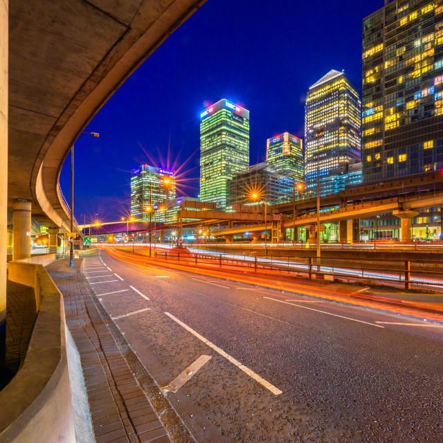 """""""Night Traffic - Poplar, London, UK"""" stock image"""