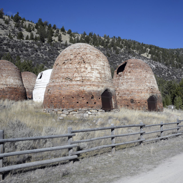 """Charcoal Burners, Canyon Creek, Montana"" stock image"