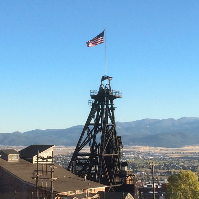 """""""Mining Headframe over looking Butte Montana"""" stock image"""