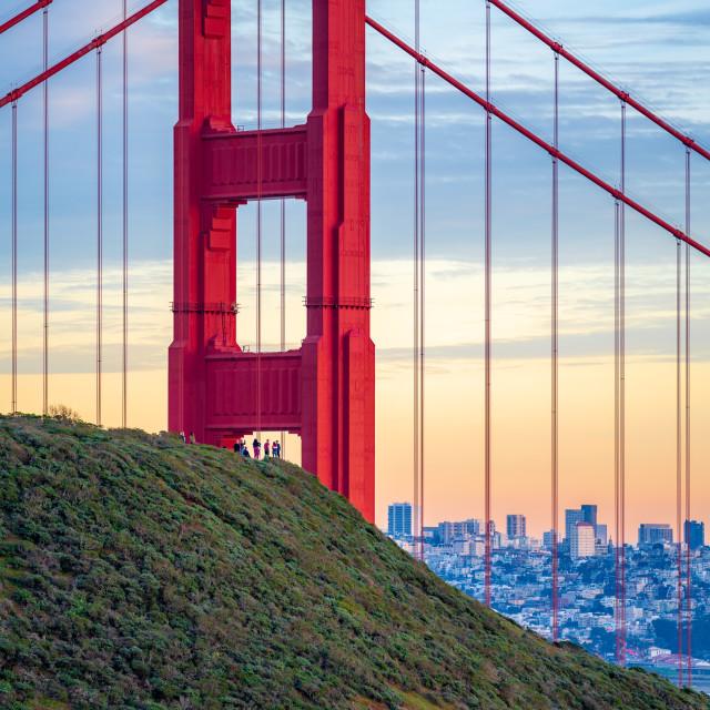 """Golden Gate Bridge at sunset #1"" stock image"