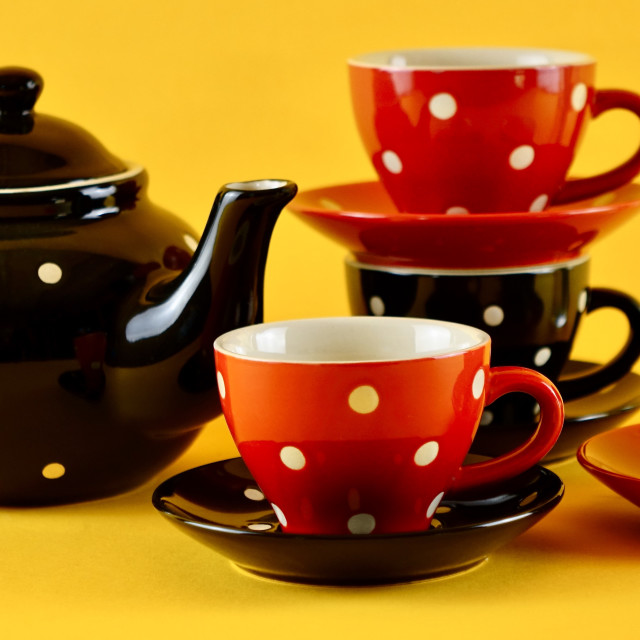 """Polka Dot Tea Set"" stock image"