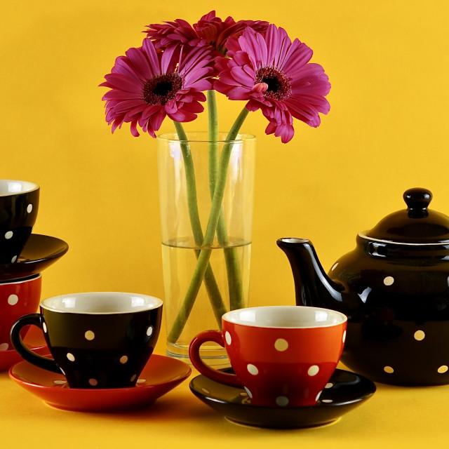 """Red & Black Polka Dot Tea Set"" stock image"