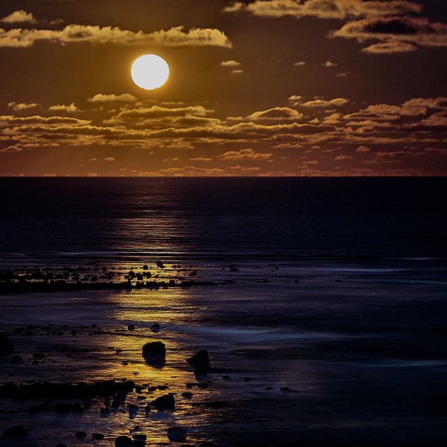 """""""Super Moon at Low Tide"""" stock image"""