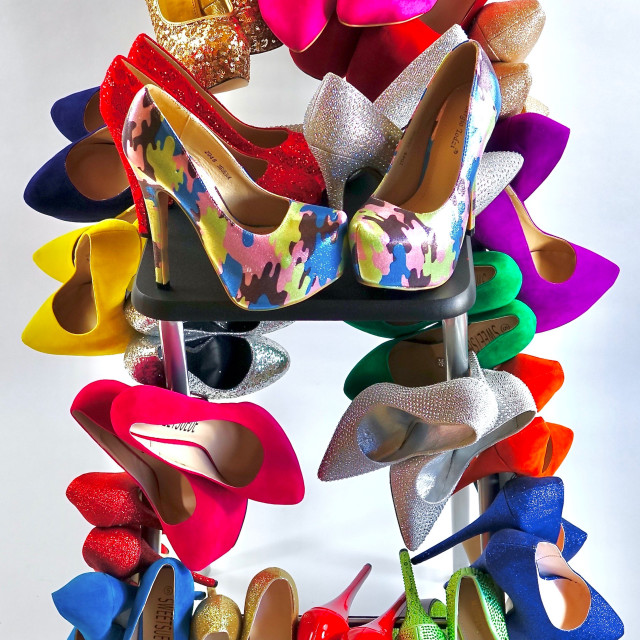 """""""Shoe Stories : Stacked !"""" stock image"""